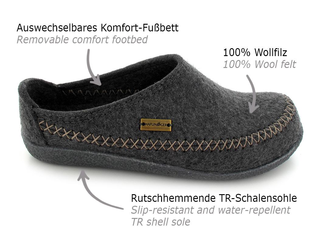HAFLINGER CR Fletcher Clog, Unisex Slipper Shoes, Wool ...