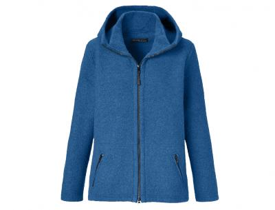 Mufflon Kapuzen-Wolljacke Nele für Damen  Merinowolle  nachtblau